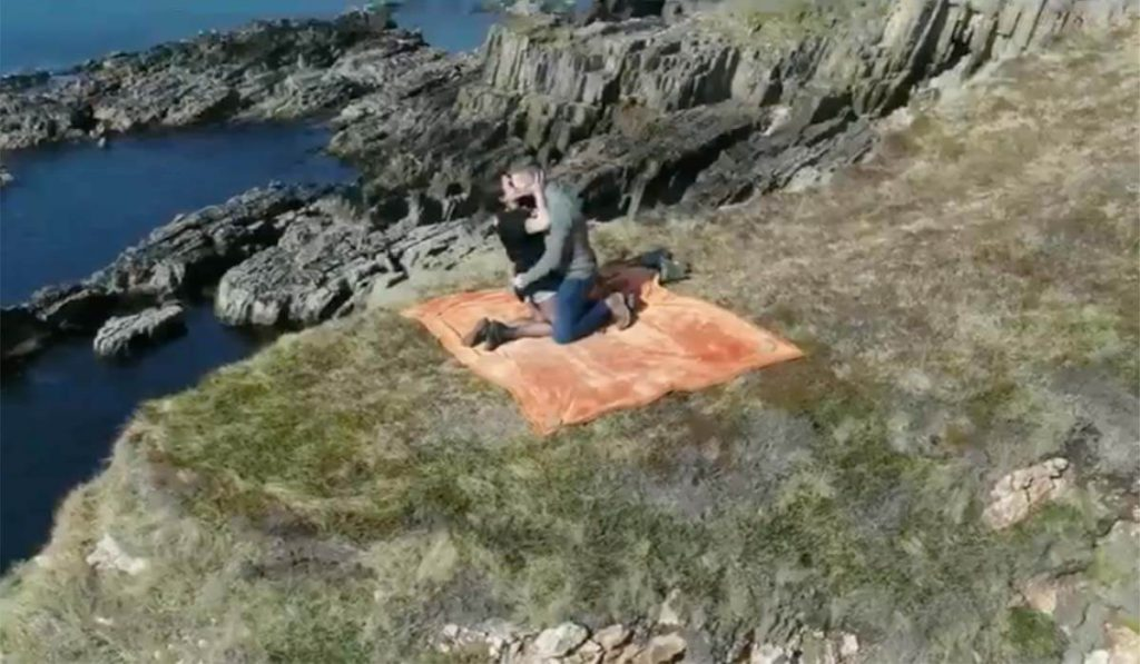 Blue Cassidy cliffhanger West Cork proposal to Maria Gilvanda. Blue told Maria they were filming a tourism promotion video and surprised by proposing with an engagement ring delivered by drone.
